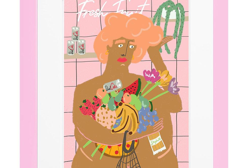 Fresh Fruit Lady A4 Print