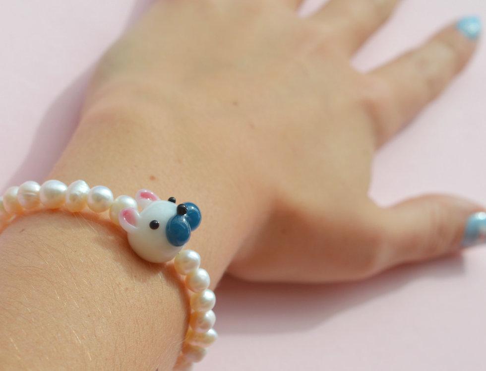 Pearly Bulldog Bracelet