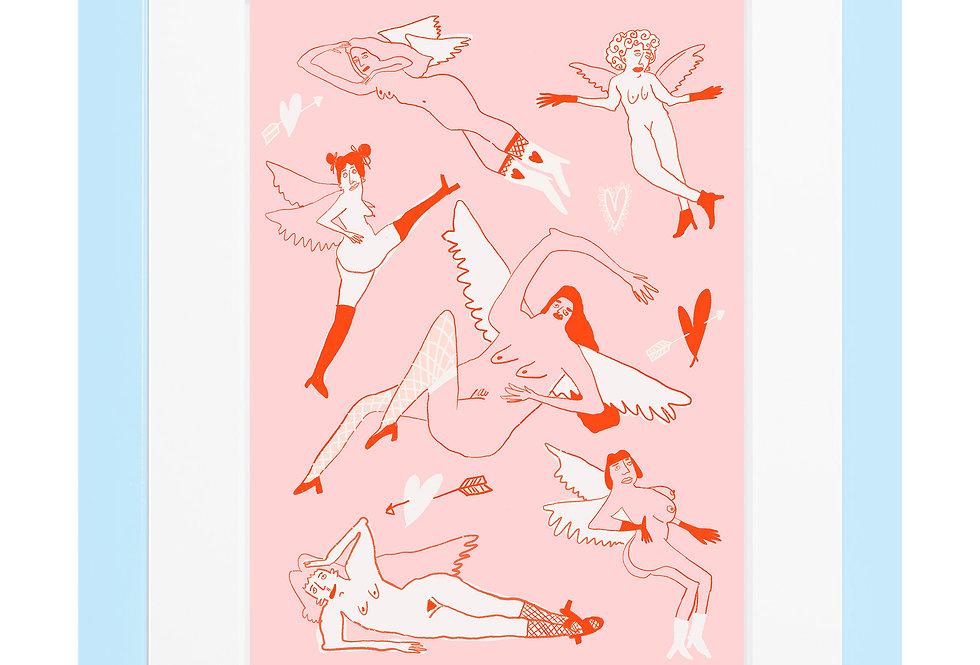 Cheeky Cherubs Pink A4 Print