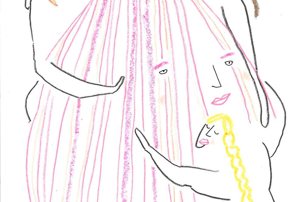 Trio of Shell Ladies Original Drawing