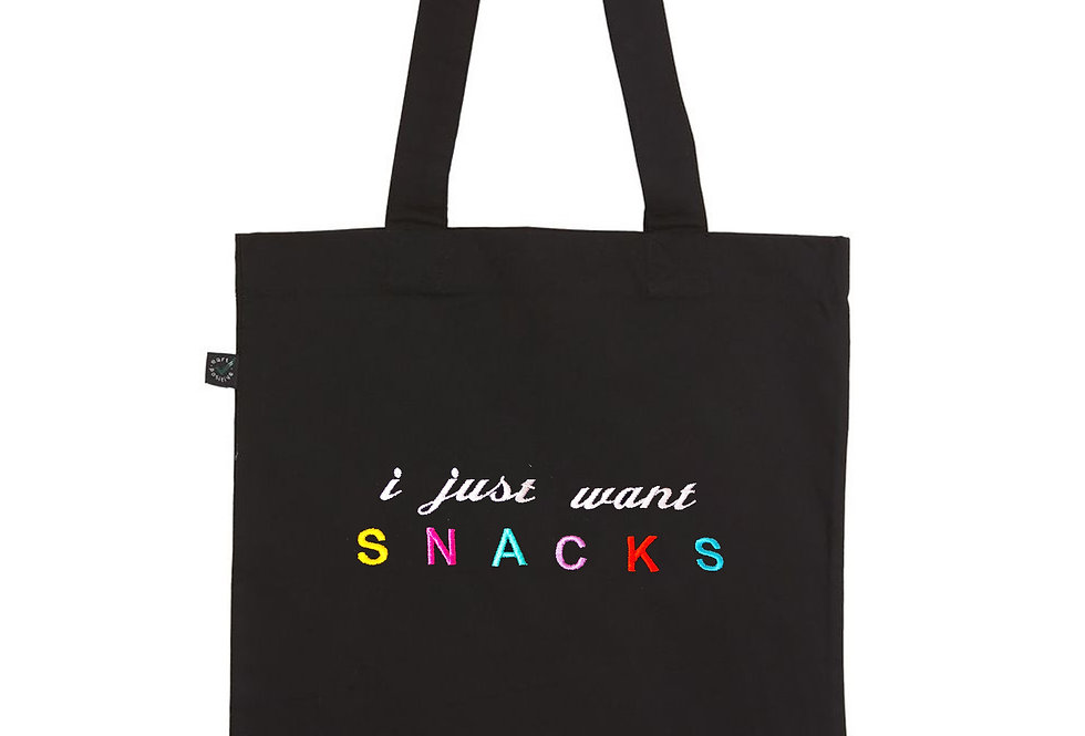 I Just Want Snacks Black Tote Bag
