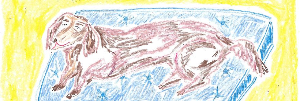 Sausage Dog on Blue Pouffe Original Drawing