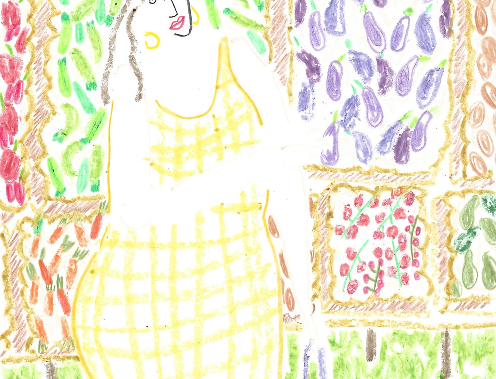 At the Vegetable Market Original Drawing