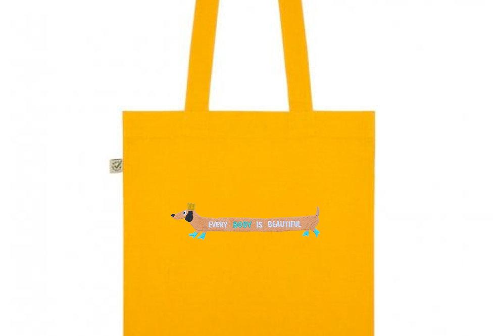 Sausage Dog Yellow Tote Bag