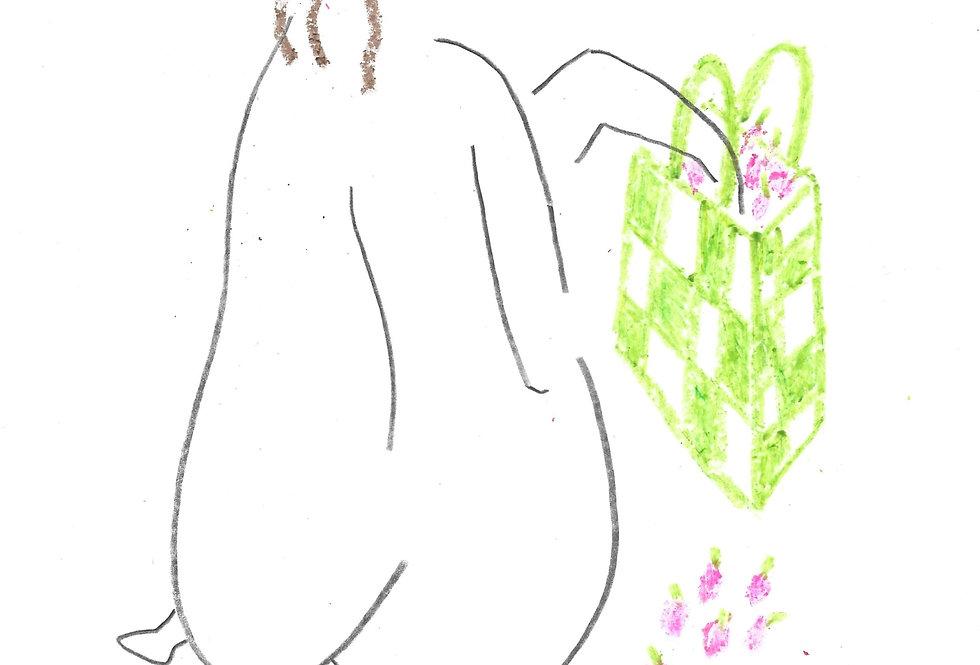 Cherry Picking Girl Original Drawing