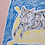 Thumbnail: Grey Cat on Yellow Pouffe Original Drawing