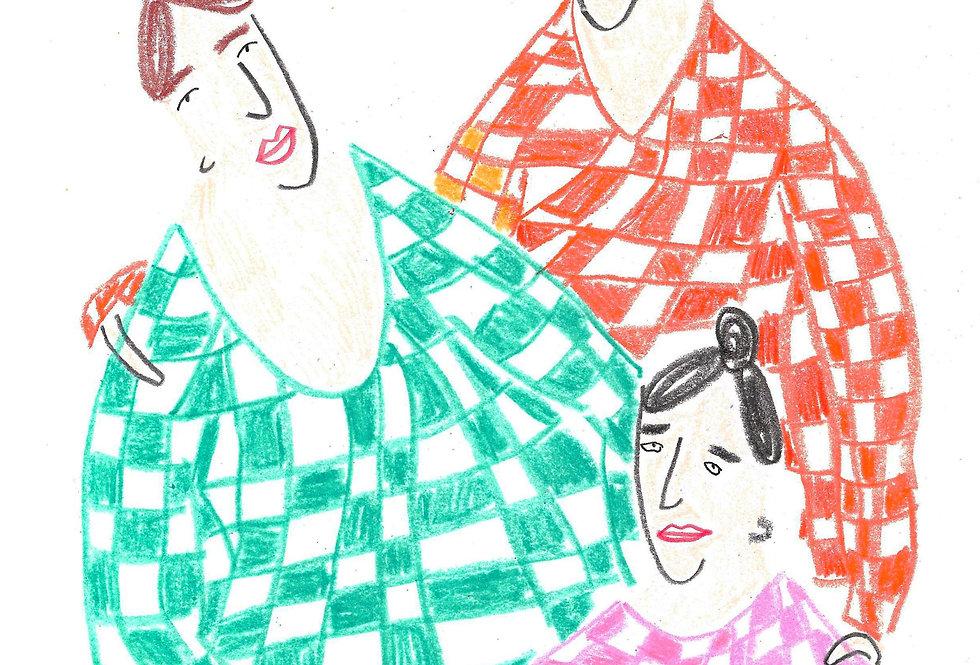 3 Gingham Ladies Original Drawing
