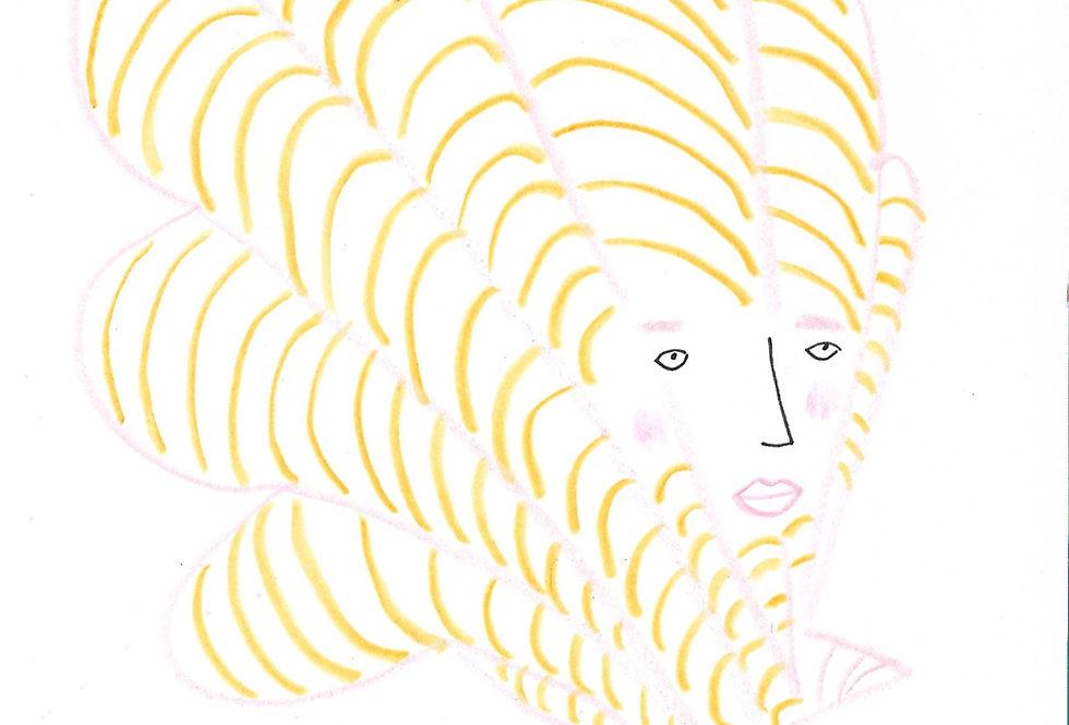 Little Pink & Mustard Yellow Shell Original Drawing