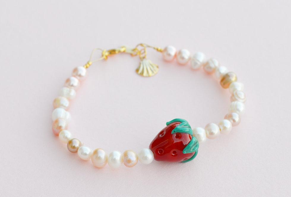 Fruit Market Strawberry & Pearl Bracelet