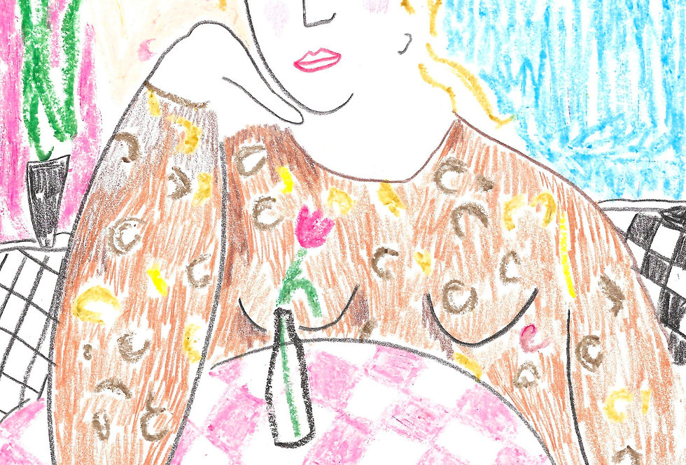 English Brekkie Cafe Girl Original Drawing