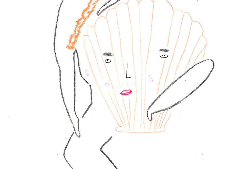 Red Head Shell Lover Original Drawing