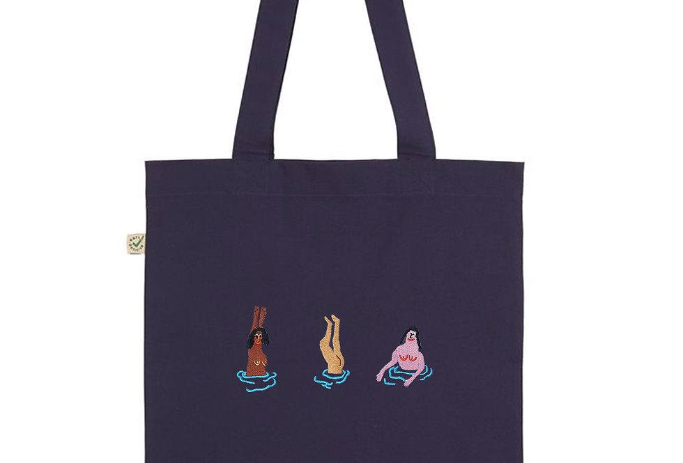 Swimming Ladies Navy Tote Bag