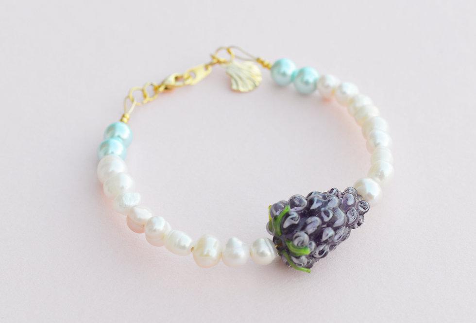 Fruit Market Grapes & Pearl Bracelet