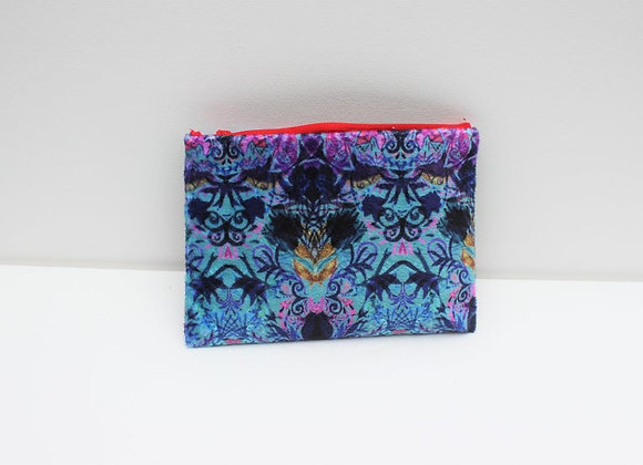 Blue Printed Plush Velvet Bag Purse. Zip Up