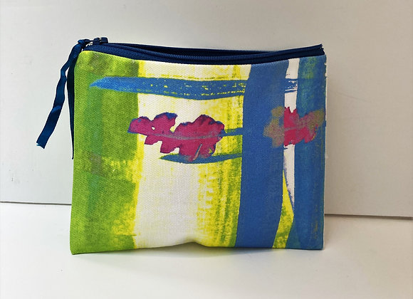 Yellow and Green - Dark Blue Zip and Ribbon - White Lining - Cotton Canvas Purse