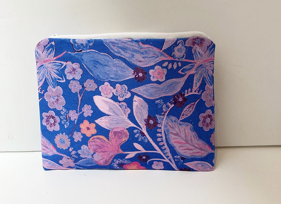 Blue/Purple and Pink Floral - White Zip - White Lining - Bag/Purse