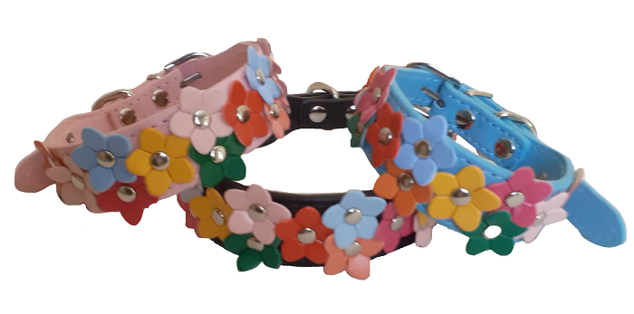 Full view of all three dog collars pink blue black