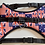 Full front view of padded union jack dog harness