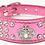 Front view of pink crown rhinestone collar