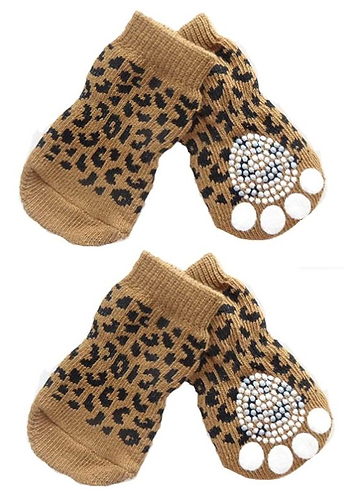 Front and sole view of leopard print socks