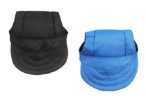 Front view of blue and black baseball caps for dogs