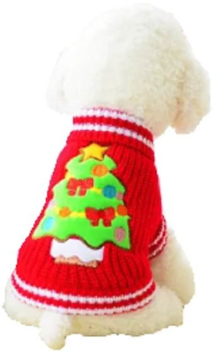 Back of sweater with embroidered Christmas tree on dog