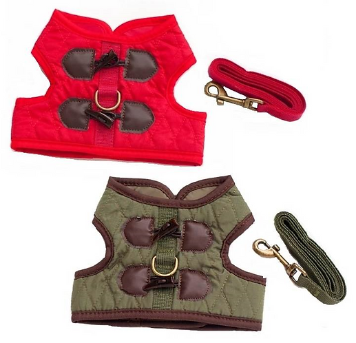 View of red and green quilted harness vests