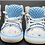 Front view of blue shoes