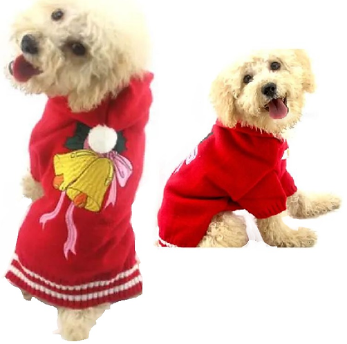 View of back of sweater on dog