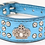 Front view of blue crown rhinestone collar