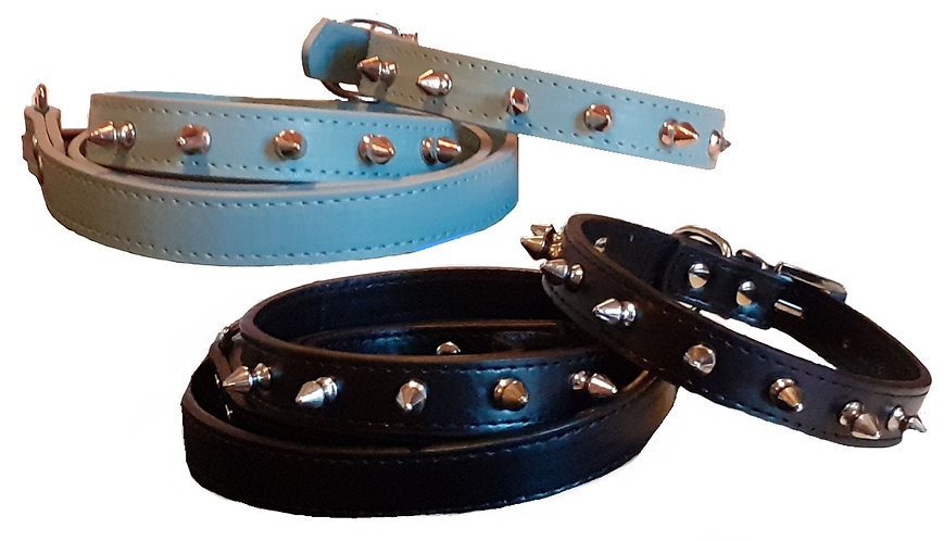 View of black and blue collars and leash sets