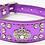 Front view of purple crown rhinestone collar