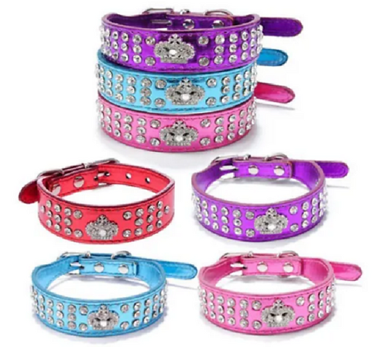 Full view of all colours of rhinestone collars