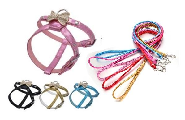 Flashy Bow Dog Harness Set