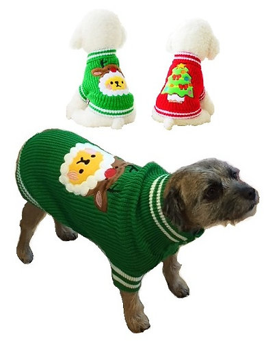View of dog wearing reindeer jumper