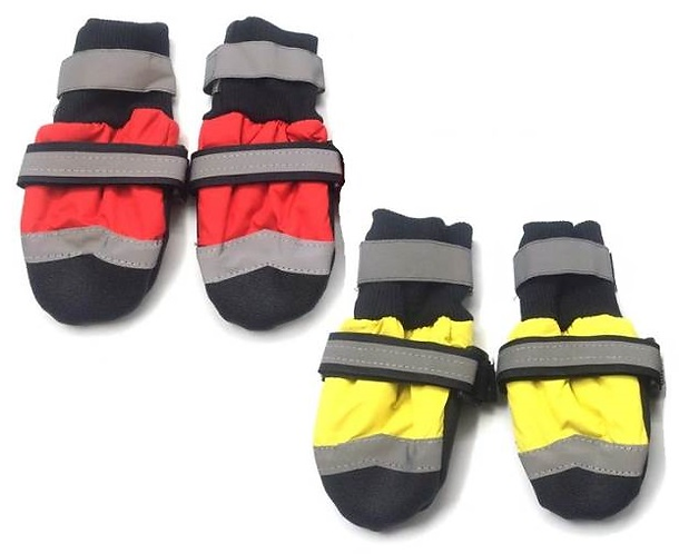 Front view of red and yellow waterproof boots