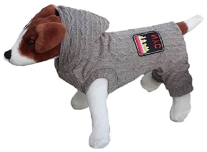 Side view of onesie on dog
