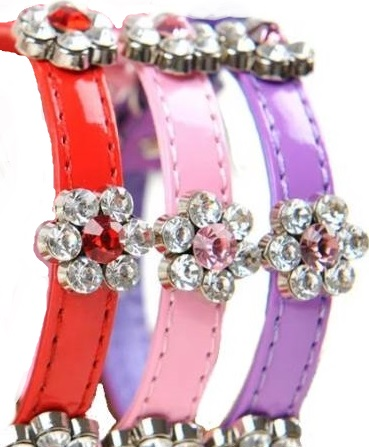 View of front of rhinestone collars