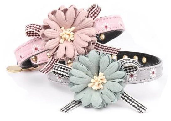 Front view of blue and pink flower collars