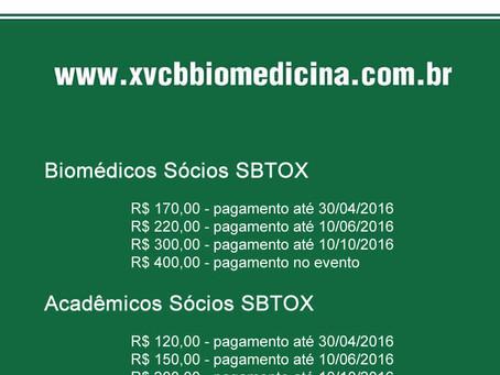 XV Congresso Brasileiro de Biomedicina oferece descontos para sócios da SBTOX