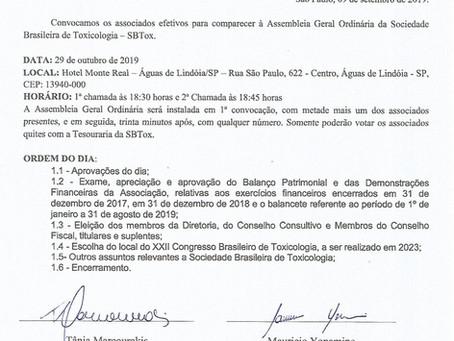 EDITAL DE CONVOCAÇÃO DE ASSEMBLEIA GERAL DA SOCIEDADE BRASILEIRA DE TOXICOLOGIA - SBTOX