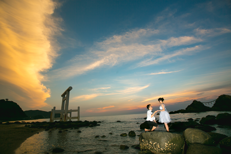 sunset pre wedding in Fukuoka Japan.