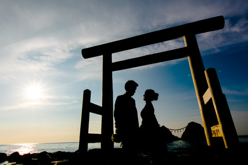 二見ヶ浦(夫婦岩) 夕焼け 糸島 のこのしまアイランドパーク ひまわり