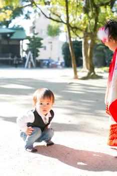 七五三 お宮参り 住吉神社 夕焼け 前撮りロケーションフォト 家族写真 ファミリーフォト モリケン 森永健一 出張撮影 福岡