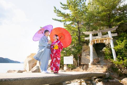 箱島神社 トトロの森 糸島 夕焼け 福岡 結婚写真 結婚撮影 出張撮影 前撮りロケーションフォト ブライダルカメラマン 森永健一