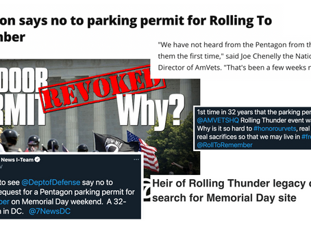 Statement from AMVETS regarding the Pentagon's denial of its permit application for Rolling to Remem