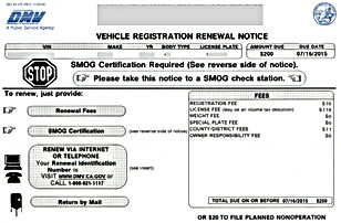 Vehicl Registration Renewal Notice Auto Registration Plate Bakersfied Delano wasco earlimart perris