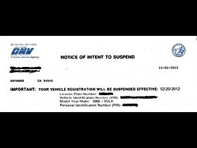 Notice Of Intent To Suspend Auto Registration Plate Bakersfied Delano wasco earlimart perris