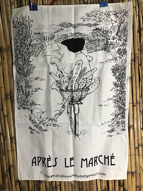 Tea Towel 'Apès le Marché' by Diana White