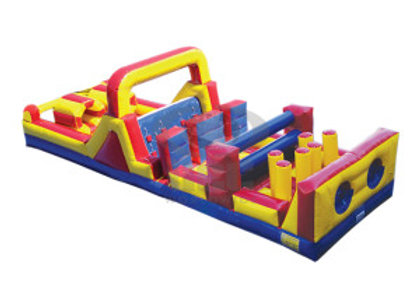 40 FT Dual Lane 7 Element Obstacle Course w/ Slide